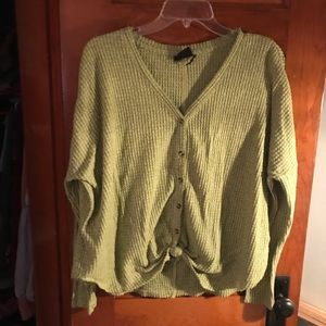 Urban Outfitters Green/Yellow knit button down